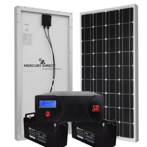 Mercury 2.4kva Inverter Bachelor's Solar System 2x 100ah Batteries 2x 260 Watt Poly Solar Panels