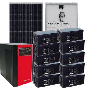 Mercury 7 5kva Inverter 10X 200AH Deep Cycle Batteries 20x 300 Watt Mono  Solar Panels
